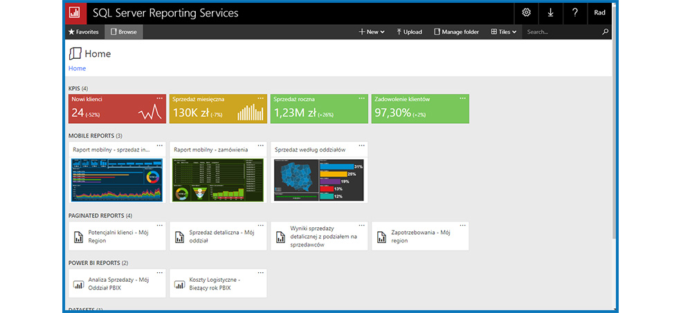 The SQL Server - reporting services
