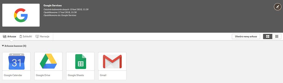 Qlik BI Box - Aplikacja Google Services