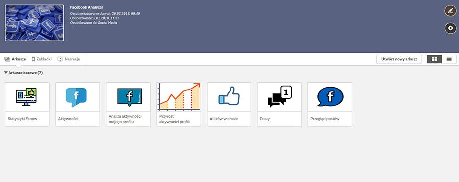 Qlik BI Box - Aplikacja Facebook